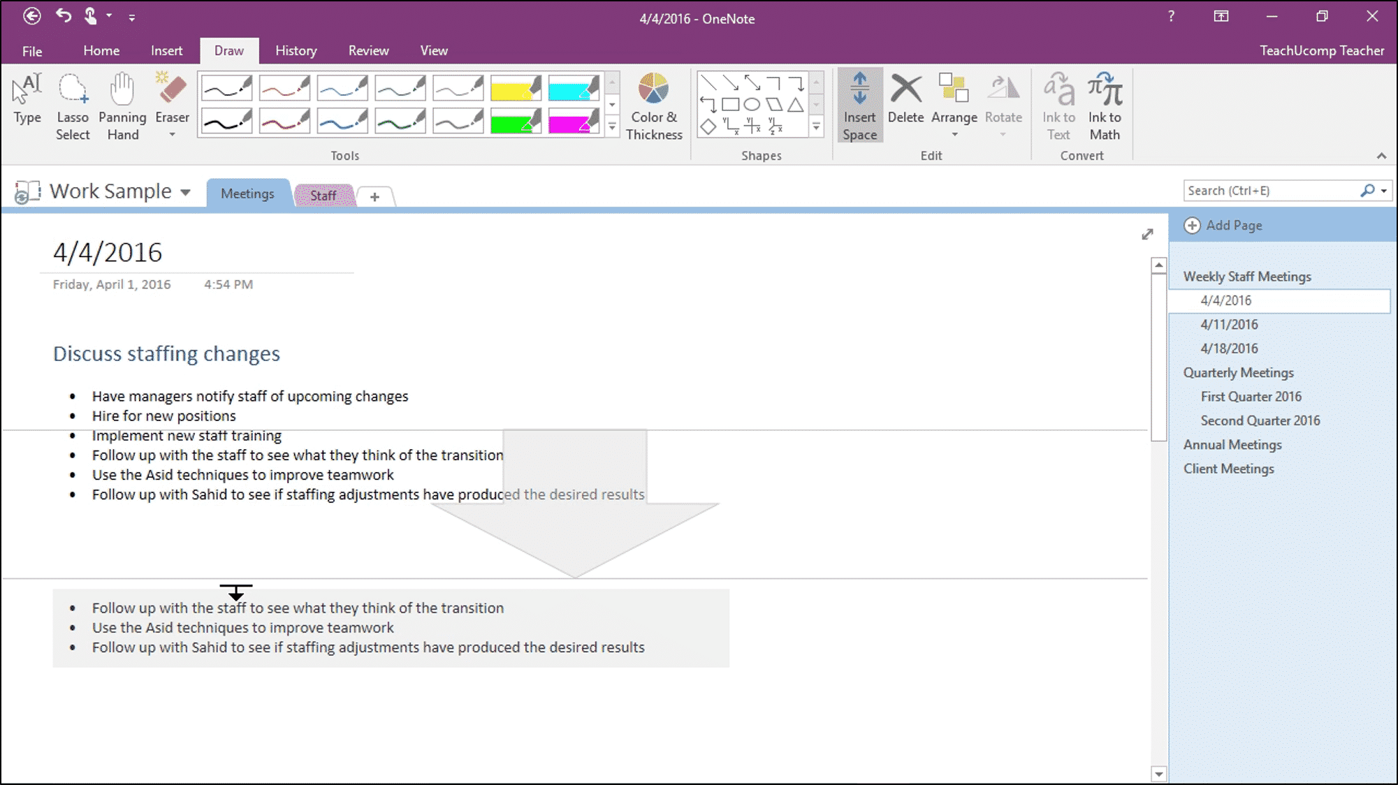 Add or Remove Note Space in OneNote - Instructions