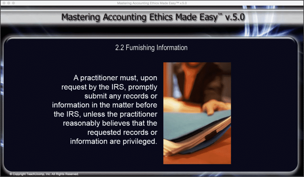 Furnishing Information To The Irs Accounting Ethics Tutorial
