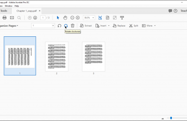 "Rotate Pages in Acrobat- Instructions: A picture showing show to rotate pages in Acrobat Pro DC by using the ""Organize Pages"" view."