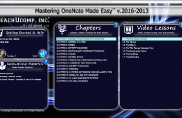 Buy OneNote 2016 Training: A picture of the user interface for the DVD or digital download version of Mastering OneNote Made Easy v.2016-2013.