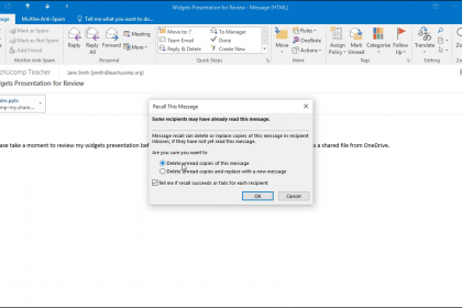 "Recall a Message in Outlook - Instructions: A picture of the ""Recall This Message"" dialog box that appears when you attempt to recall a message in Outlook."