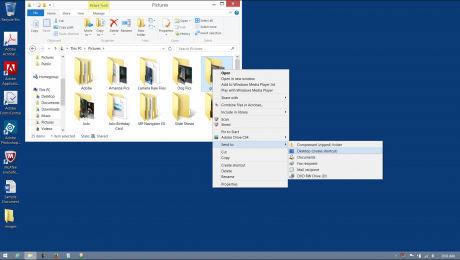 Create Desktop Shortcuts in Windows 8.1- Tutorial: A picture of a user creating a desktop shortcut to a folder.