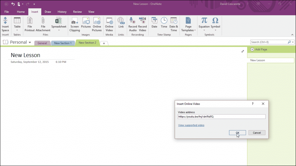 "Insert Online Video in OneNote 2016 - Tutorial: A picture of the ""Insert Online Video"" dialog box in OneNote 2016, which is used to insert and embed online video in OneNote."
