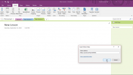 Insert Online Video in OneNote 2016 - Tutorial: A picture of the
