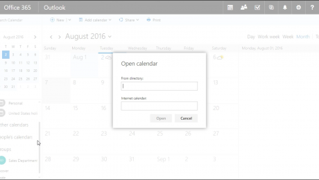 Add a Shared Calendar to Outlook on the Web - Tutorial: A picture of a user adding a shared calendar to Outlook on the Web.