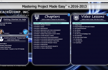 Project 2016 Tutorial: A picture of the Mastering Project Made Easy v.2016-2013 training interface for DVD or digital downloads.