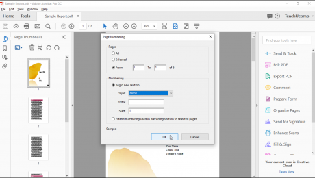 "Change Page Numbers in Acrobat - Instructions: A picture of the ""Page Numbering"" dialog box in Acrobat Pro DC."