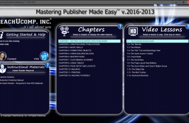 Buy Publisher 2016 Training- New Product Release: A picture of the product interface for the DVD or digital download of
