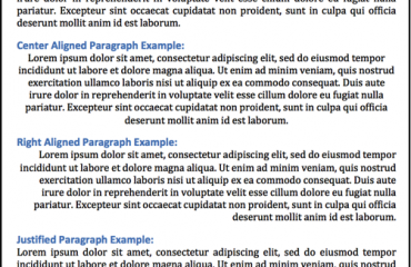 Align Paragraphs in Word- Tutorial: A picture of four paragraphs in a Word document. Each paragraph shows a different paragraph alignment being applied. They are from top to bottom: