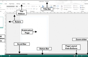 The Publisher 2016 User Interface - Tutorial: A picture of the major objects used within the Publisher 2016 user interface.