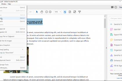 Select and Copy Text and Graphics in Acrobat – Instructions: A picture of a user copying selected text within a PDF in Acrobat Pro DC.