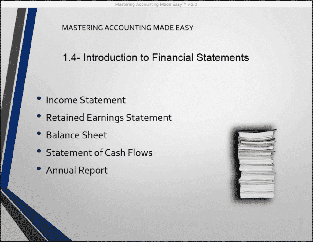 "Introduction to Financial Statements- Tutorial: A picture from our video lesson, titled ""Introduction to Financial Statements,"" which shows the names of the commonly-used financial statements in accounting: the income statement, the retained earnings statement, the balance sheet, the statements of cash flows, and the annual report."