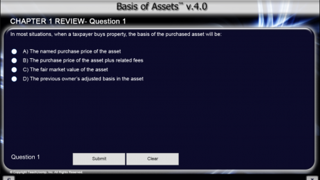 Buy Basis of Assets Training at TeachUcomp, Inc.: A picture of an online review question for the Basis of Assets Course v.4.0.