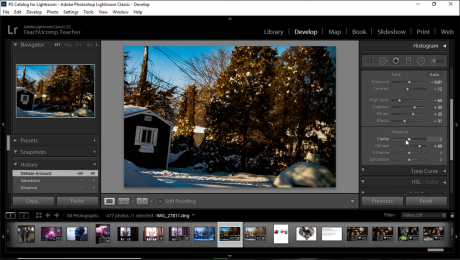"Change the Color Saturation in Lightroom Classic CC - Instructions: A picture of a user changing the color saturation of an image in Lightroom Classic CC by using the sliders at the bottom of the ""Basic"" panel in the Develop module."