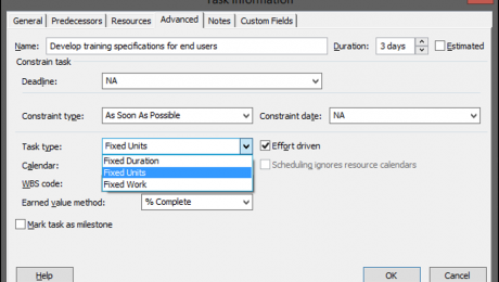Task Types in Microsoft Project- Tutorial: A picture of the