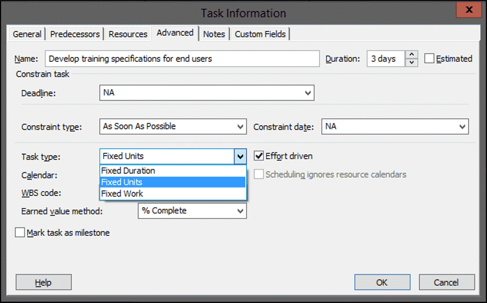 "Task Types in Microsoft Project- Tutorial: A picture of the ""Task type"" drop-down within the ""Advanced"" tab of the ""Task Information"" dialog box in Microsoft Project."