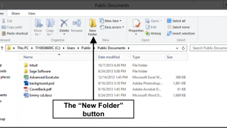 Create a New Folder in Windows 8- Tutorial: A picture of the