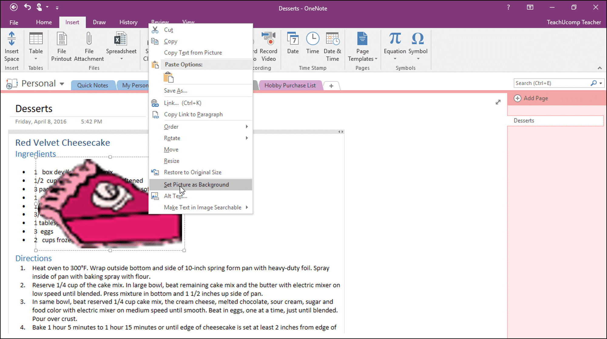 Set A Picture As A Background In Onenote Tutorial