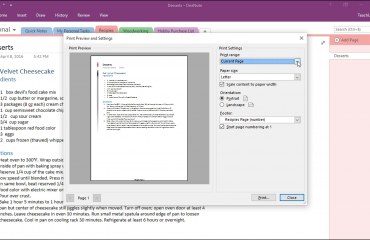 "Printing in OneNote- Instructions: A picture of the ""Print Preview and Settings"" dialog box in OneNote."