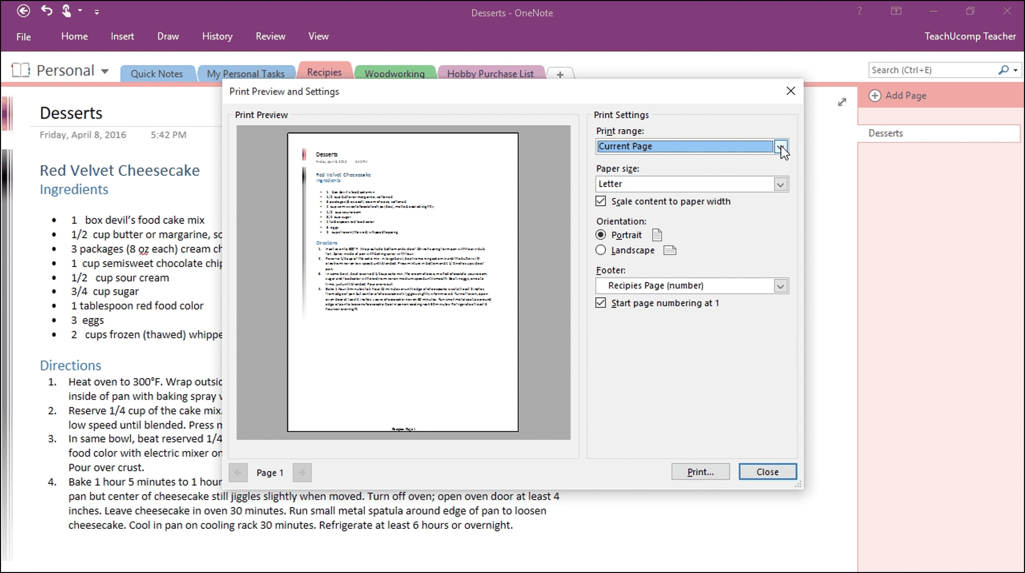 Worksheets Print Worksheets On One Page printing in onenote instructions teachucomp inc a picture of the preview and