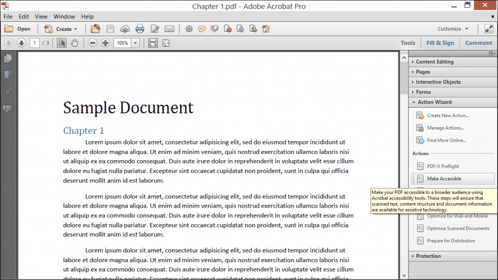 """Use an Action in Acrobat XI Pro- Tutorial: A picture of the """"Action Wizard"""" panel in the Tools pane of the Task Pane within Adobe Acrobat XI Pro."""