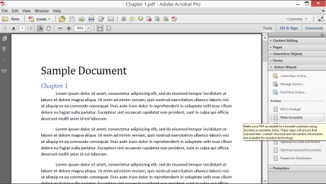 Use an Action in Acrobat XI Pro- Tutorial: A picture of the