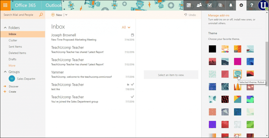 Change the Theme in Outlook on the Web- Instructions: A picture of a user changing the theme in Outlook on the Web.