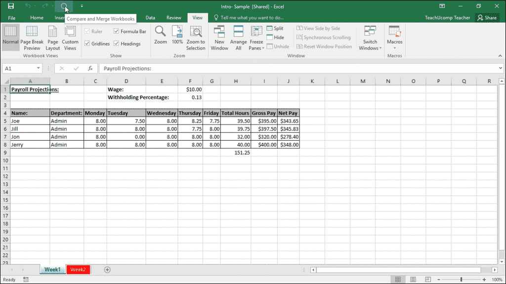 "Merge Changes in Copies of Shared Workbooks in Excel: A picture of a user clicking the ""Compare and Merge Workbooks"" button that has been added to the Quick Access toolbar in Excel."