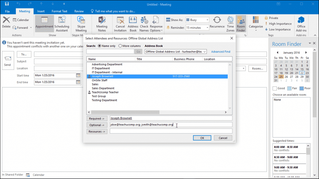 Plan a Meeting in Outlook - Instructions and Video Lesson: A picture of a user selecting meeting attendees in Outlook.