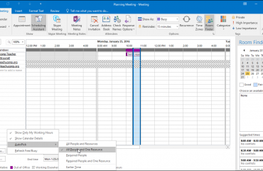 Plan a Meeting in Outlook - Instructions and Video Lesson: A picture of a user selecting a meeting time using the AutoPick feature in Outlook.