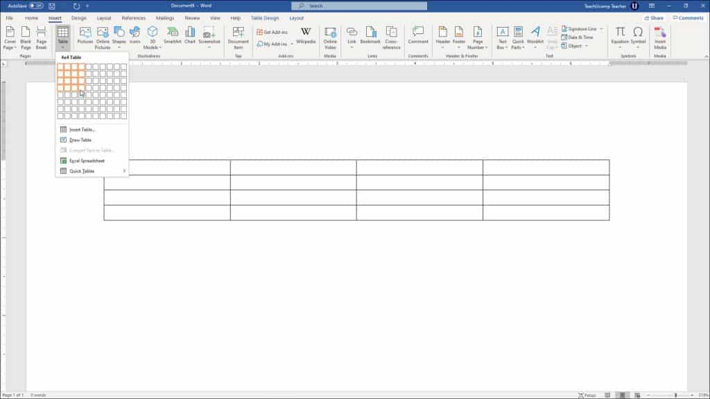 """Create Tables in Word - Instructions: A picture of a user creating tables in Word by using the grid in the """"Table"""" button's drop-down menu."""