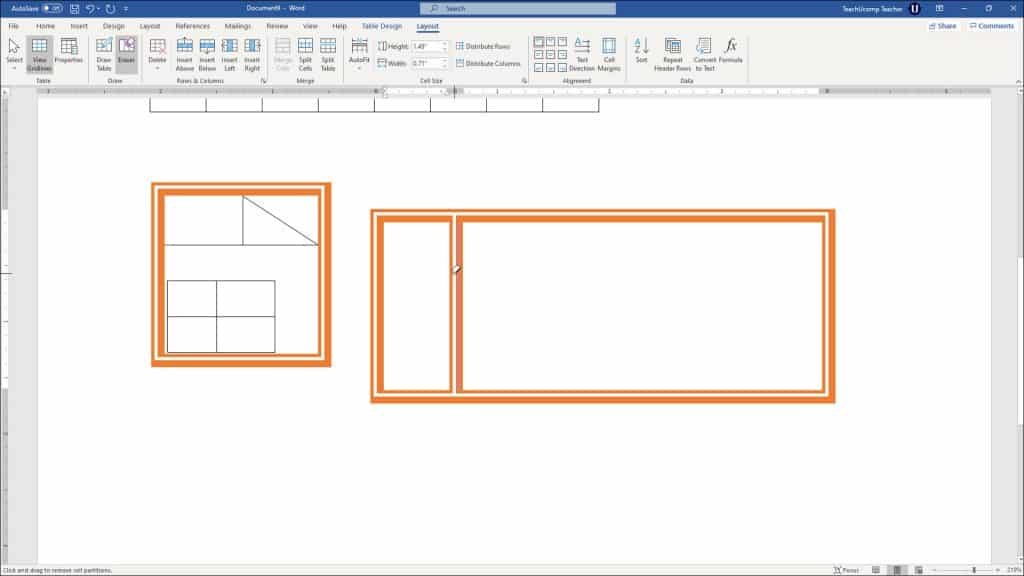 """Create Tables in Word - Instructions: A picture of a user erasing existing table lines in Word by using the """"Eraser"""" button."""