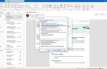 """Create a Mailbox Rule in Outlook - Instructions: A picture of a user editing the hyperlink values within a rule template in the """"Rules Wizard"""" in Outlook."""
