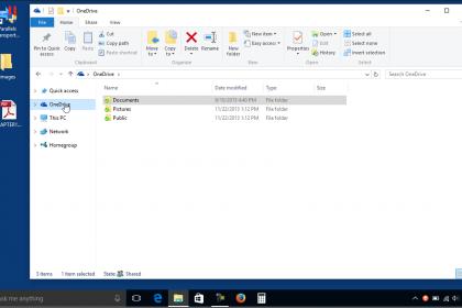 OneDrive Folders in File Explorer in Windows 10 - Tutorial: A picture of the OneDrive folder in File Explorer in Windows 10.