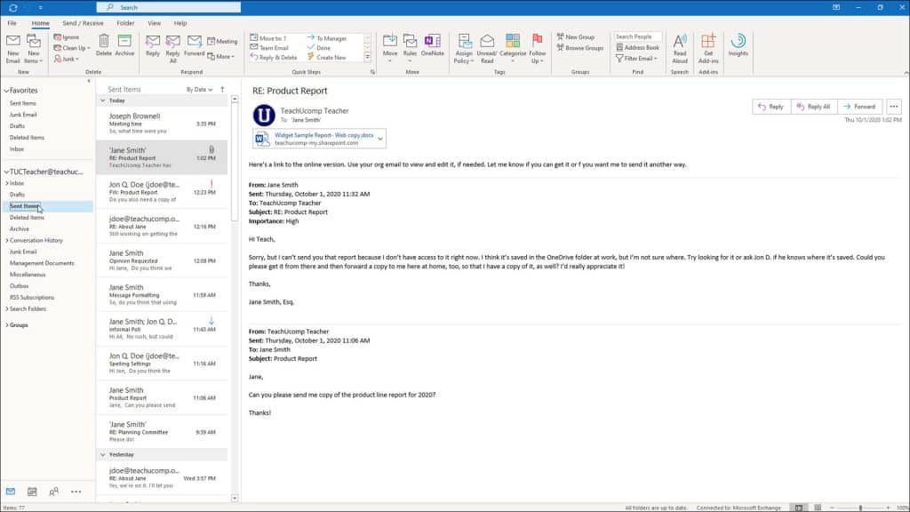 The Sent Items Folder in Outlook - Instructions: A picture of the Sent Items folder in Outlook.