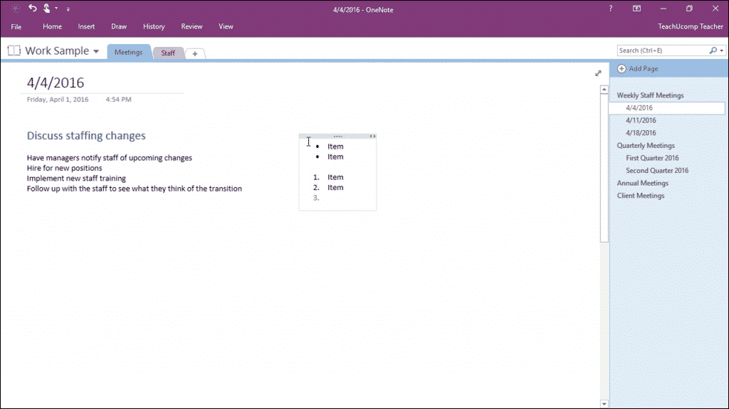 Add Bullets and Numbering in OneNote - Instructions: A picture of a user numbering a list as they type in OneNote.