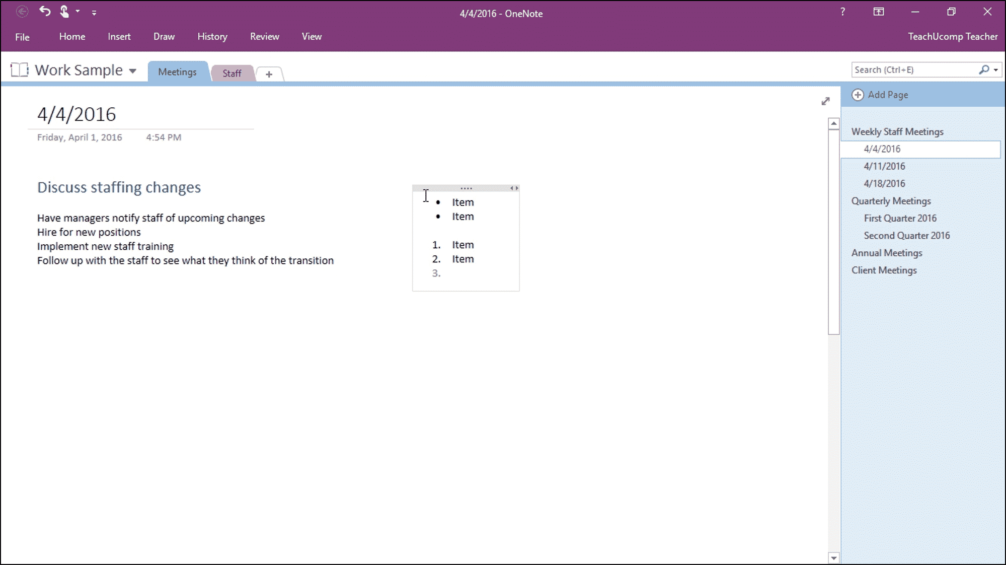 Add Bullets and Numbering in OneNote - Instructions