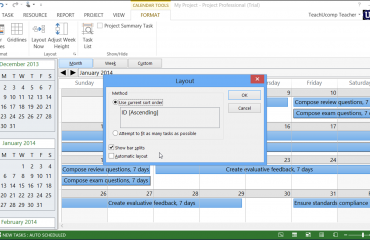 Calendar View in Microsoft Project - Tutorial: A picture of the