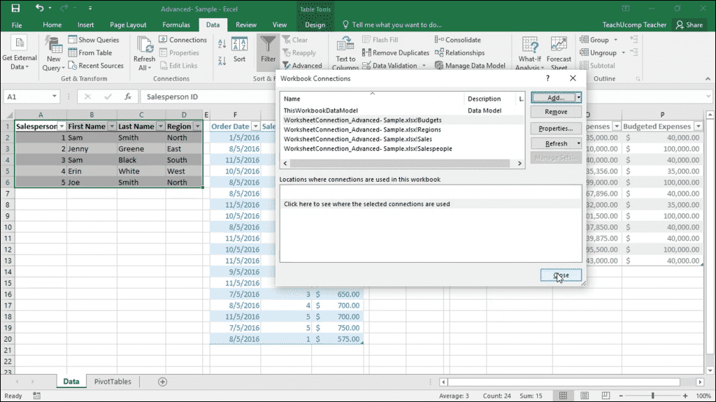 "Add Excel Tables to a Data Model- Instructions: A picture of the ""Workbook Connections"" dialog box in Excel, showing references to Excel tables in the data model."