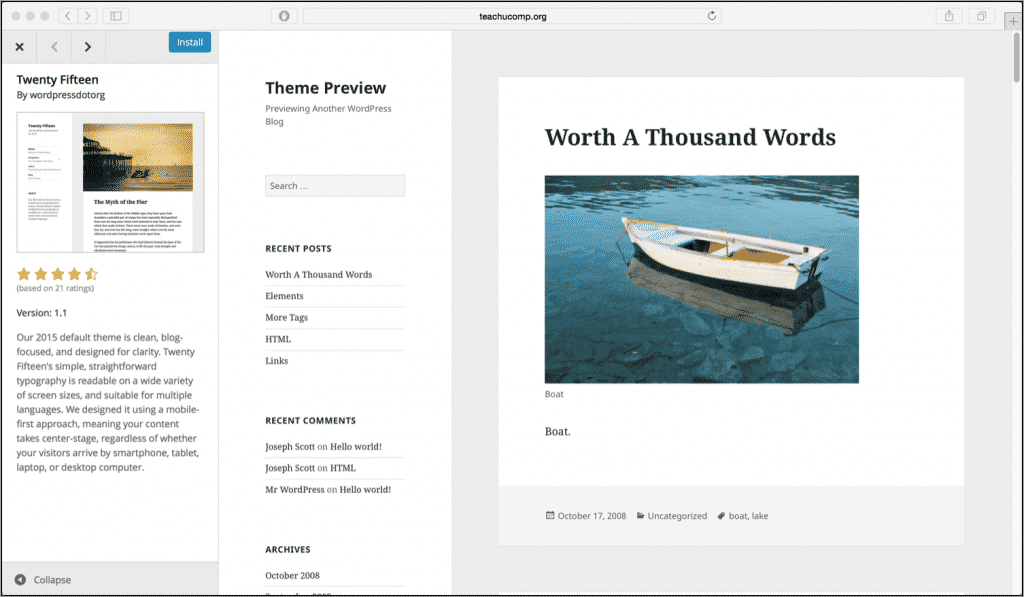 Install Themes from the WordPress Theme Directory- Tutorial: A picture of a theme you can install from the WordPress Theme Directory.
