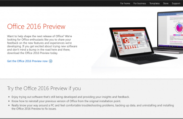 Microsoft Office 2016 Public Preview Released: A picture of the Microsoft Office 2016 Public Preview webpage. (Source: Microsoft)