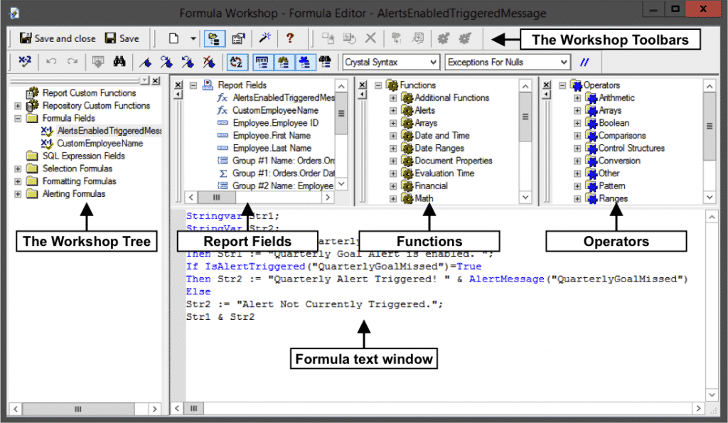 "Crystal Reports Keyboard Shortcuts- Tutorial: A picture of the ""Formula Editor"" window within Crystal Reports 2013."