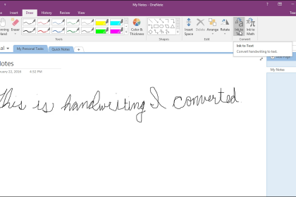 Convert Handwriting to Text in OneNote - Instructions: A picture of a user converting handwriting to text in OneNote.