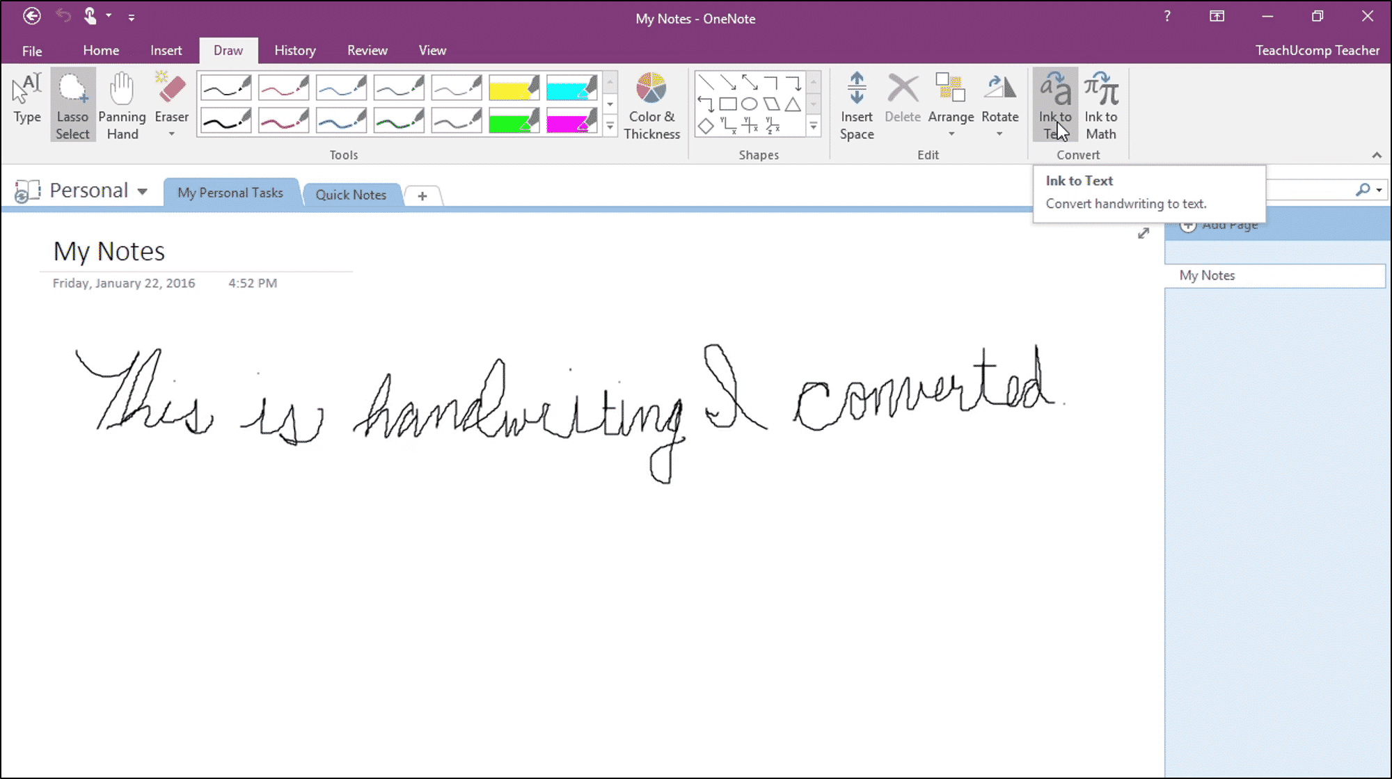 Convert Handwriting to Text in OneNote - Instructions