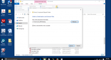 "Unzip Files in Windows 10 - Instructions- A picture of the ""Extract Compressed (Zipped) Folders"" dialog box in Windows 10."
