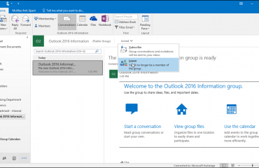 Leave a Group in Outlook 2016 - Tutorial: A picture of a user leaving a group in Outlook 2016.