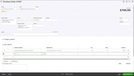 """Create a Purchase Order in QuickBooks Online - Instructions: A picture of the """"Item details"""" section at the bottom of the """"Purchase Order"""" form in QuickBooks Online."""