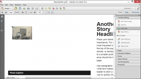 Add Images in Acrobat XI Pro- Tutorial: A picture of a user adding an image to a PDF in Adobe Acrobat XI Pro.