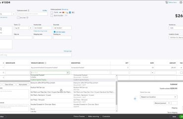 Create an Invoice in QuickBooks Online- Instructions: A picture of a user selecting products and services when creating an invoice in QuickBooks Online.