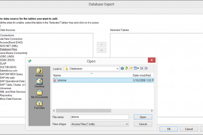 Connect to Database Files in Crystal Reports 2013- Tutorial: A picture of a user connecting to a database file in Crystal Reports 2013.